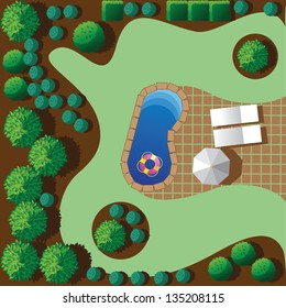 Landscaping with patio and pool. EPS 8 vector, grouped for easy editing. No open shapes or paths.