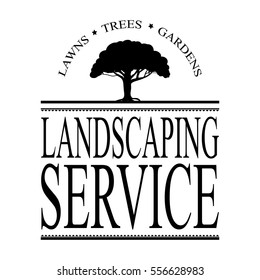 landscaping service ad design vector with tree illustration and retro vintage style lines and arch lettering in black and white
