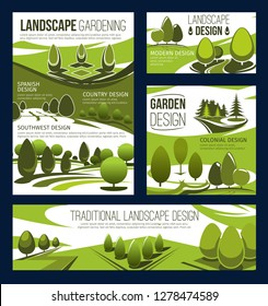 Landscaping service, landscape design and park planning, lawn care and gardening. Landscaping maintenance and landscape architecture of garden, square and parkland with green trees and plants. Vector