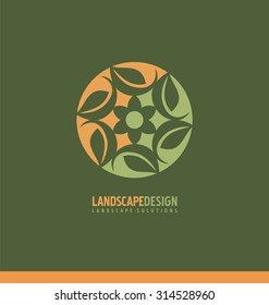 Landscaping symbol design concept. Abstract illustration with leaves in the circle. Park theme icon. Logo template for gardening business or flower shop.