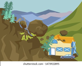 Landslide. The building is falling asleep with mountain, earth. In minimalist style Cartoon flat vector illustration