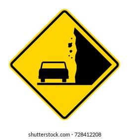 Landslide, Caution falling rocks Sign