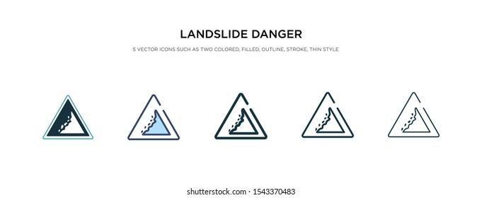 landslide danger triangular traffic icon in different style vector illustration. two colored and black landslide danger triangular traffic vector icons designed in filled, outline, line and stroke