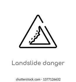 landslide danger triangular traffic vector line icon. Simple element illustration. landslide danger triangular traffic outline icon from signs concept. Can be used for web and mobile