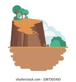 landslide disaster scene icon