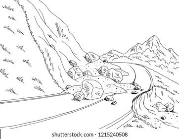 Landslide graphic black white mountains landscape sketch illustration vector