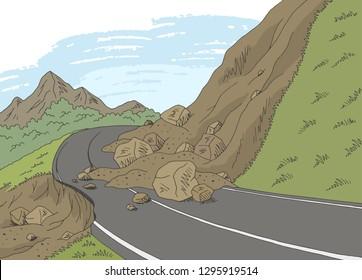 Landslide graphic color mountains landscape sketch illustration vector