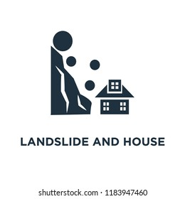 Landslide and House icon. Black filled vector illustration. Landslide and House symbol on white background. Can be used in web and mobile.
