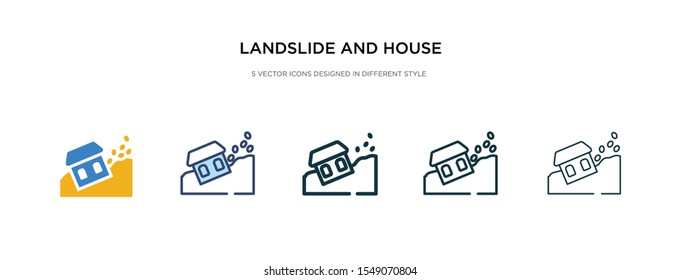 landslide and house icon in different style vector illustration. two colored and black landslide and house vector icons designed in filled, outline, line stroke style can be used for web, mobile, ui