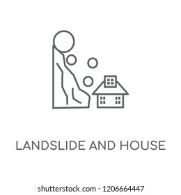 Landslide and House linear icon. Landslide and House concept stroke symbol design. Thin graphic elements vector illustration, outline pattern on a white background, eps 10.