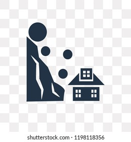 Landslide and House vector icon isolated on transparent background, Landslide and House transparency concept can be used web and mobile