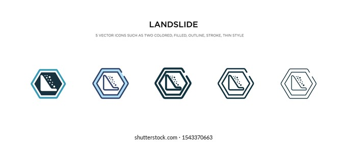landslide icon in different style vector illustration. two colored and black landslide vector icons designed in filled, outline, line and stroke style can be used for web, mobile, ui