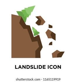 Landslide icon vector isolated on white background, Landslide transparent sign , weather symbols