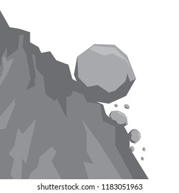 Landslide icon vector isolated on white background. Stones fall from the rock. Flat design, vector