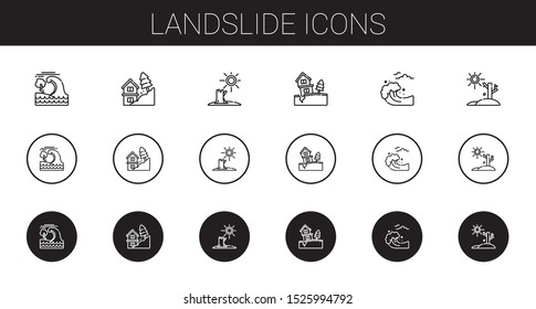landslide icons set. Collection of landslide with tsunami, drought. Editable and scalable landslide icons.