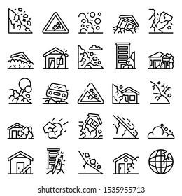 Landslide icons set. Outline set of landslide vector icons for web design isolated on white background