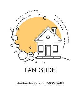 Landslide isolated icon, stones fall from rock on house, natural disaster vector. Ecological and environmental problem, real estate damage, life threat. Collapse of mountain on building, rockfall