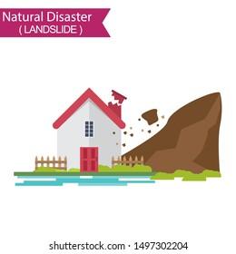 Landslide. Natural disaster collection.Vector illustration.