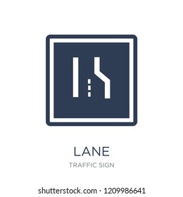 Lane sign icon. Trendy flat vector Lane sign icon on white background from traffic sign collection, vector illustration can be use for web and mobile, eps10