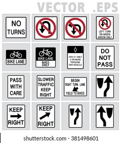 Lane Usage and Turns, Regulation of Movement sign road vector.