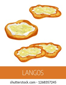 Langos vector illustration. Traditional national Hungarian dish, European street food illustration. Detailed icon of langos with cheese isolated on white background. Street food menu template.