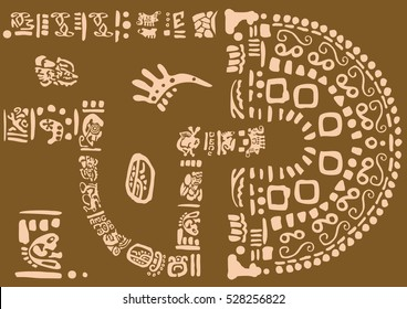 The language of the ancient fantasy. Ancient symbols of America. Images of characters of ancient American Indians.The Aztecs, Mayans, Incas.