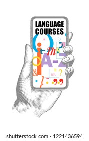 language course. Hand showing e-learning app on mobile phone with grammatical and phonetic symbols. Vector illustration of modern smartphone. Education concept background