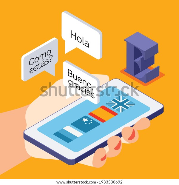 Language courses isometric background composition with learning spanish real life conversation online hand holding smartphone vector illustration