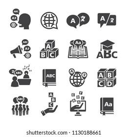 Language icon set