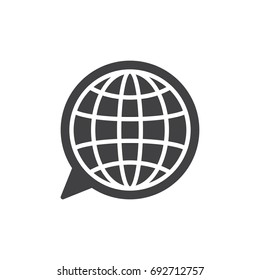 Language icon vector, filled flat sign, solid pictogram isolated on white. Globe inside speech bubble symbol, logo illustration. Pixel perfect vector graphics