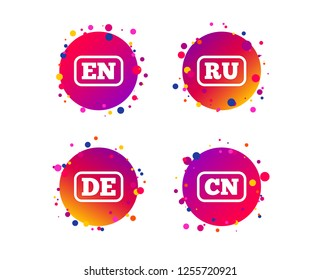 Language icons. EN, DE, RU and CN translation symbols. English, German, Russian and Chinese languages. Gradient circle buttons with icons. Random dots design. Vector