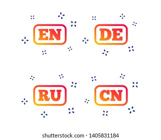 Language icons. EN, DE, RU and CN translation symbols. English, German, Russian and Chinese languages. Random dynamic shapes. Gradient language icon. Vector