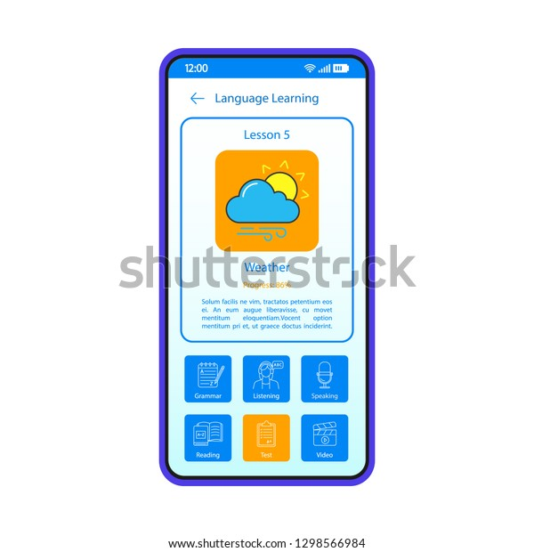 Language Learning App Smartphone Interface Vector Stock