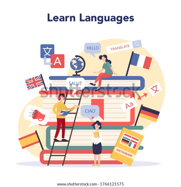 Language learning concept. Study foreign languages with native speaker. Idea of global communication. Studying foreign vocabulary. Vector illustration in cartoon style
