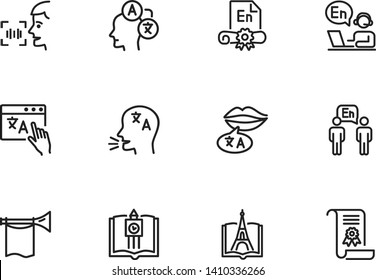 Language learning line icon set. Book, diploma, interpreting. Education concept. Can be used for topics like communication, studying abroad, elearning