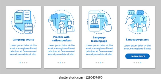 Language learning onboarding mobile app page screen vector template. Lessons with native speaker, language quizzes, online courses. Walkthrough website steps. UX, UI, GUI smartphone interface concept