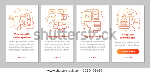 Language Learning Onboarding Mobile App Page Stock Vector