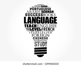 Language light bulb word cloud collage, education business concept