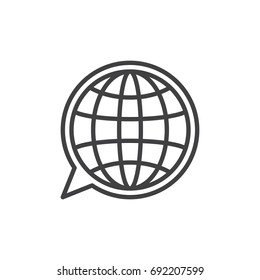 Language line icon, outline vector sign, linear style pictogram isolated on white. Globe inside speech bubble symbol, logo illustration. Editable stroke. Pixel perfect vector graphics