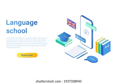 Language school concept banner. Can be used for web banner, infographic. isometric vector illustration isolated on white background.