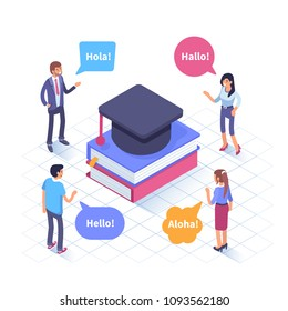 Language school concept banner with characters. Can use for web banner, infographics, hero images. Flat isometric vector illustration isolated on white background.