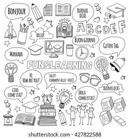 Language school Doodle vector set