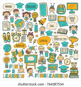Language school Kids, chidlren, boys and girls. Happy students learning english, spanish, german, italian, arabic languages College, university, kindergarten language classes Play, study vector icons