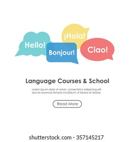 "Language school poster, banner, template with speech bubbles. Inscriptions ""Hello"" in French, Italian and Spanish languages. Perfect for language course."