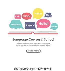 "Language school poster, banner, template with speech bubbles. Inscriptions ""Hello"" in French, Italian, German, Spanish, Polish, Portuguese, Russian, English languages. Perfect for language school."