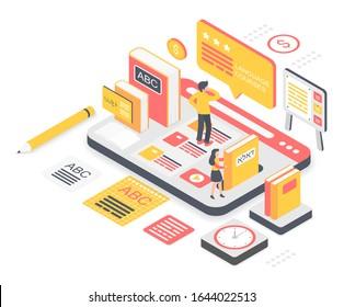 Language school vector illustration. Virtual multilanguage platform for students. Internet courses and lessons. Vocabulary online education. (Hebrew and arabic translation: language school)