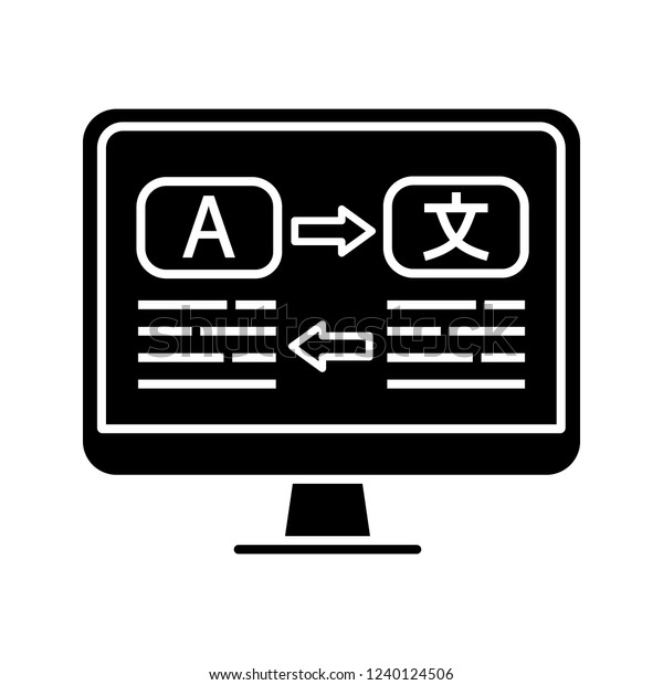Language Translation Glyph Icon Online Translator Stock