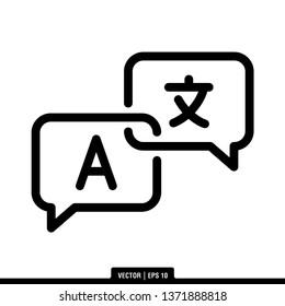 Language Translation Icon Vector Illustration Logo Template