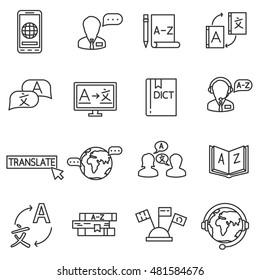 language translation icons set. interpreter collection. translator thin line design