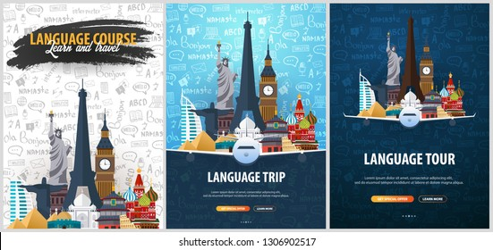 Language trip, tour, travel. Learning Languages. Vector illustration with hand-draw doodle elements on the background